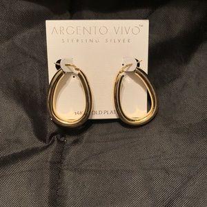 Argento Vivo 14k Gold Plate Oval Hoop EarringsNWOT